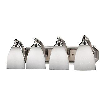 Mix-n-match vanity 4-light wall lamp in satin nickel with simple white glass - includes led bulbs elk lighting