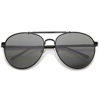 Large Metal Teardrop Double Bridge Flat Lens Aviator Sunglasses 60mm