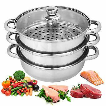 3 Tier Stainless Steel Vegetable Steamer Pan Set 25cm Pot Cooking Food Cookware Glass Lid