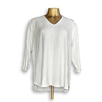 Isaac Mizrahi Live! Women's Plus Top Essentials 3/4-Sleeve White A349957