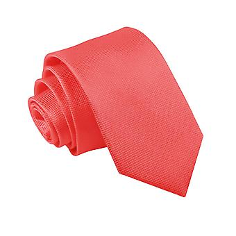 Coral Solid Check Slim Tie