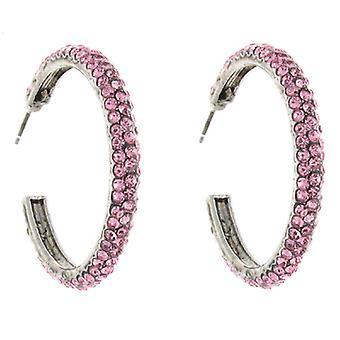 Klassiske Rose Pink Swarovski krystal mode Hoop Øreringe 3.5 cms
