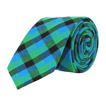 Mr. icone narrow tie Club tie dark blue Plaid light blue green