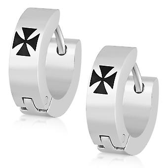 Hoop Huggie Earrings, Stainless Steel Jewellery, Templar Cross