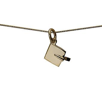 9ct Gold 9x9mm Graduation Cap Pendant with a curb Chain 20 inches