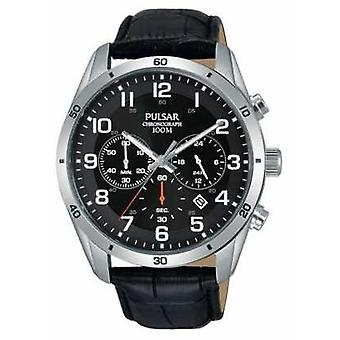 Pulsar Gents 100m Black Leather PT3833X1 Watch