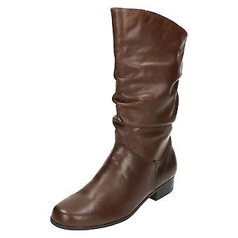 Damer læder samling Pull Up kalv længde støvler F50694