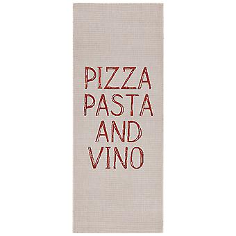 Design kitchen Windrunner flat weave Pizza Pasta and Vino beige 80 x 200 cm