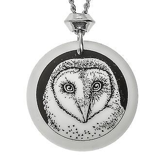 Handmade Barn Owl Totem Round Shaped Porcelain Pendant