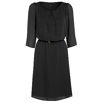 Womens belted flowy chiffon dress DR880-Black-16