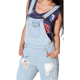 Bleached, Destroyed Denim Ladies Dungarees 8 10 shredded scatter rip jeans