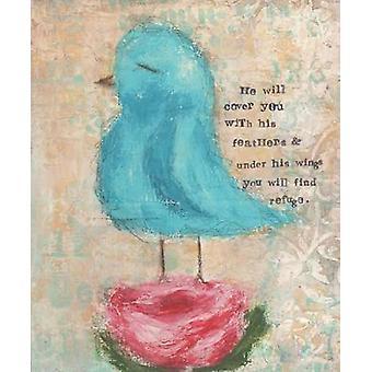 Oiseau bleu fleur rose Poster Print par Cassandra Cushman