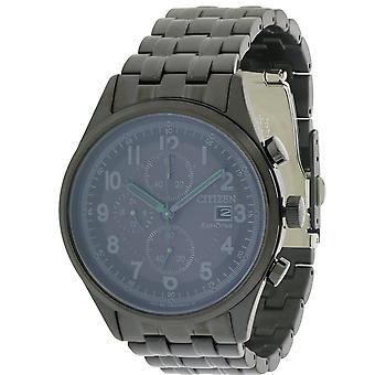 Citizen Eco-Drive Chandler Black Stainless Steel Chronograph Mens Watch CA0625-55E