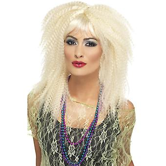 80's trademark frizzy wig blonde speed long with bangs