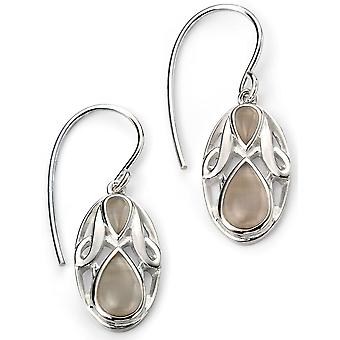 925 Silver Cat Eye Oval Plated Rhodium Earring