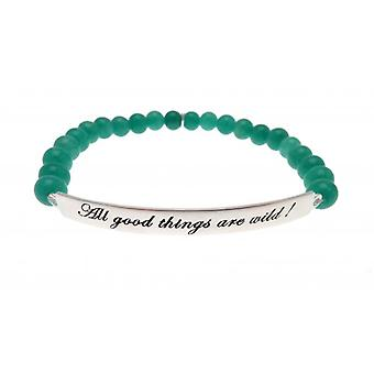W.A.T 925 Sterling Silver 'All Good Things Are Wild' Green Jade Quote Bracelet