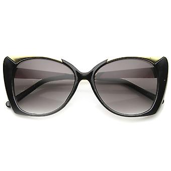 Womens Glam Metal Temple Oversized Butterfly Cat Eye Sunglasses