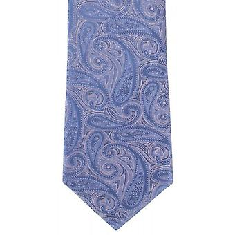 Michelsons of London Bold Paisley Silk Tie - Light Pink/Blue