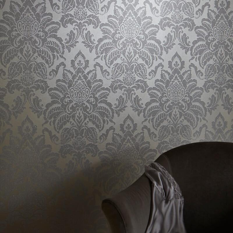 Damask Wallpaper Glitter Glisten Shiny Shine Sparkle Metallic Platinum Silver