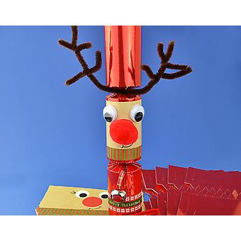 8 Jingly Wobbly Standy Uppy Rudolph Make Your Own Christmas Crackers Kit