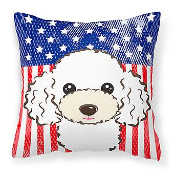 American Flag and White Poodle Fabric Decorative Pillow