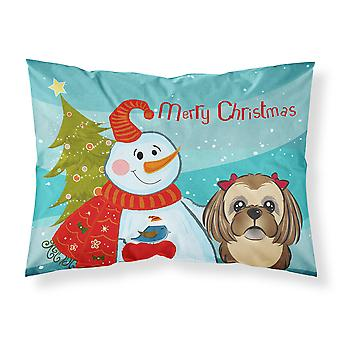 Snowman with Chocolate Brown Shih Tzu Fabric Standard Pillowcase