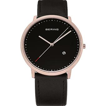 Bering mens watch wristwatch slim classic - 11139-462 leather