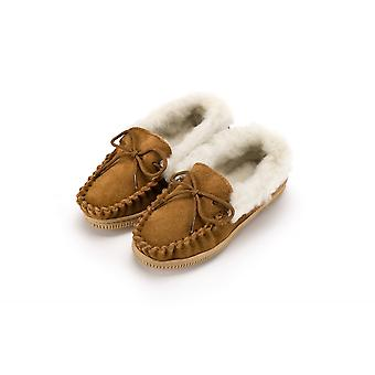 Eastern Counties Leather Childrens/Kids Wool-blend Lined Moccasin Slippers With Collar