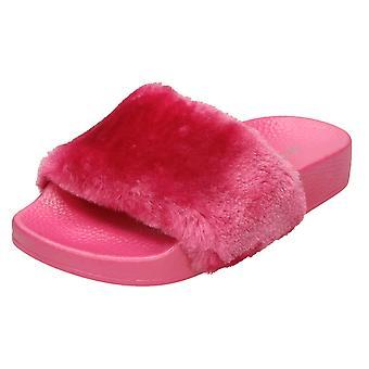Girls Spot On Faux Fur Slider Mules