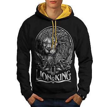 Beast Animal Lion King Men Black (Gold Hood) Contrast Hoodie | Wellcoda