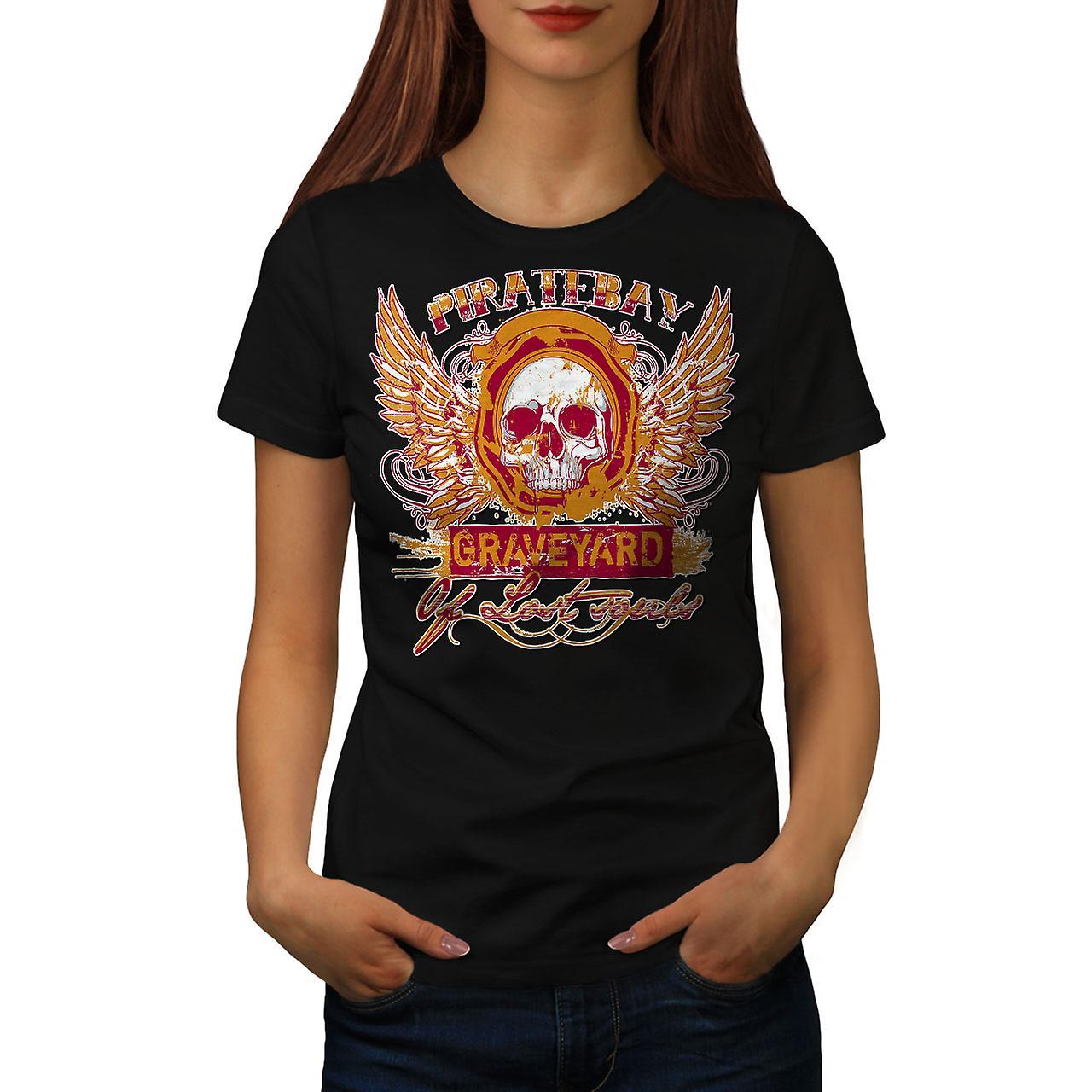 Piratebay Graveyard Skull Women Black T-shirt | Wellcoda