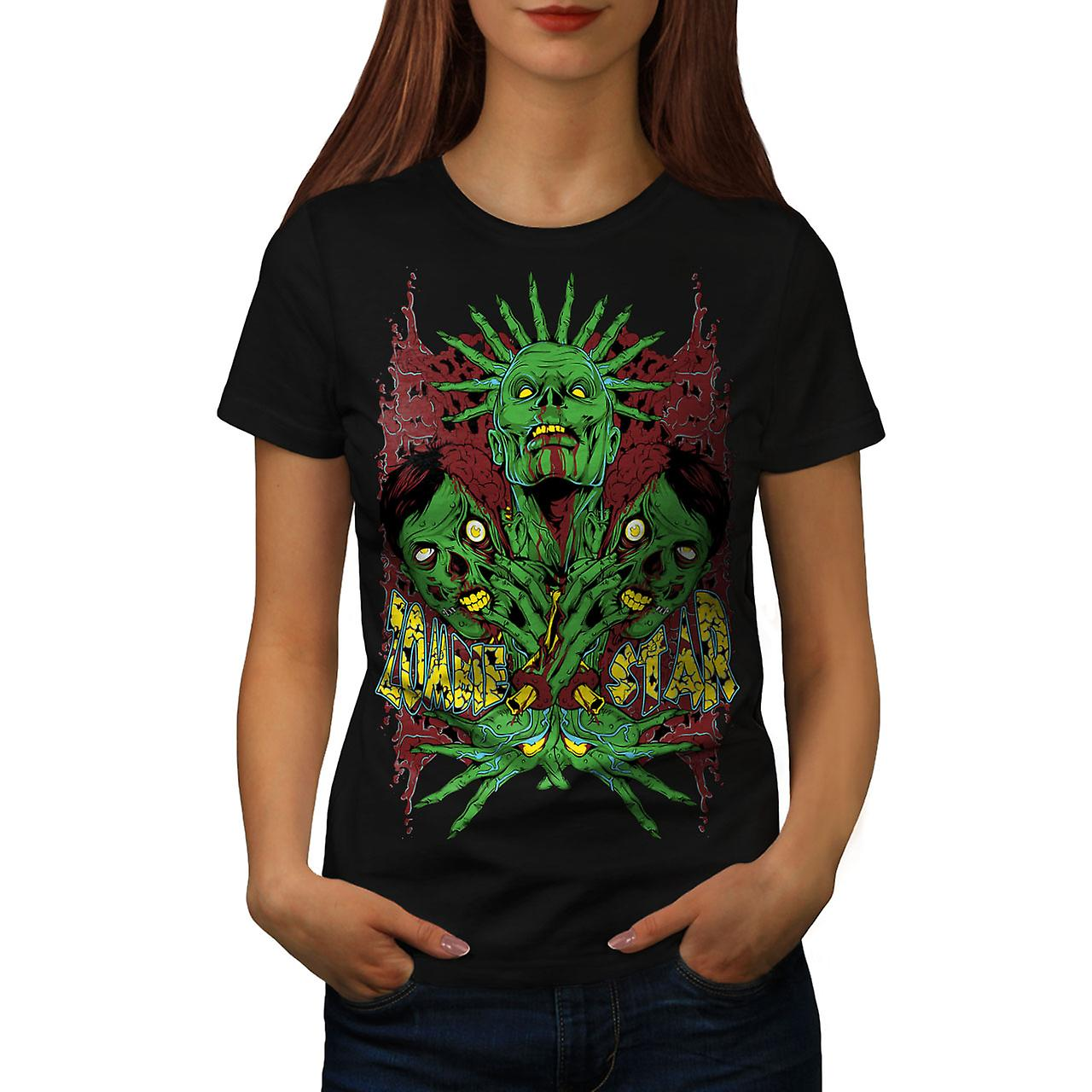 Star Monster Green Zombie Women Black T-shirt | Wellcoda