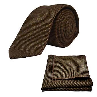Brown Sharkskin Tie & Pocket Square Set