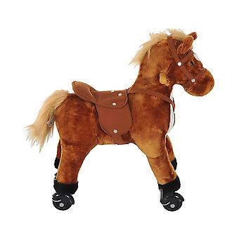 Homcom Wooden Action Pony Wheeled Walking Horse Riding Baby Plush Ride on Animal Kids Gift w/ Sound (Brown)