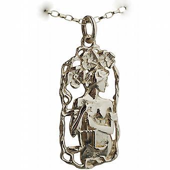 9ct or 33x17mm Libra zodiaque pendentif avec un belcher Chain 16 pouces convient uniquement pour les enfants