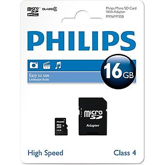 Philips 16GB Class 4 Micro SDHC-Speicherkarte mit SD HC Adapter
