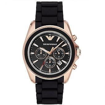 Armani Watches Ar6066 Black & Rose Gold Men's Silicon Chronograph Watch