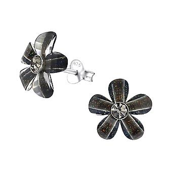 Flower - 925 Sterling Silver Crystal Ear Studs - W31471x