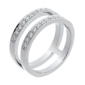 Orphelia Silver 925 Ring 2 Lines  Zirconium   ZR-7124