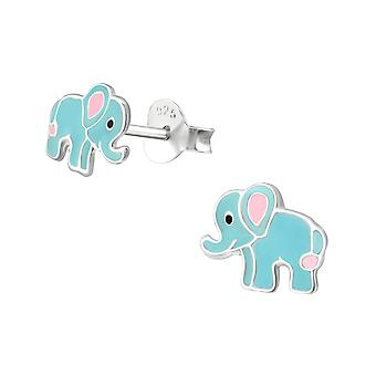 Elephant - 925 Sterling Silver Colourful Ear Studs - W33548x