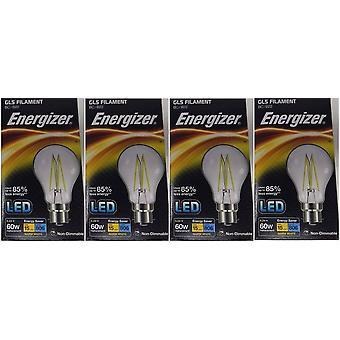 4 X Energizer 6.2W = 60W LED Filament GLS gloeilamp Vintage BC B22 bajonet lampvoet [energieklasse A +]
