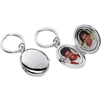 David Van Hagen Silver Plated Oval Picture Frame Key Ring - Silver