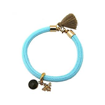 Brown - gemstone - smoky quartz - BEE - bee - blue - gold-plated ladies - bracelet - 925 Silver-