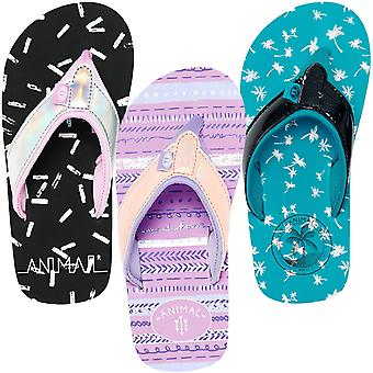 Animal Girls Swish Glitz Beach Summer Holiday Slip On Thongs Sandals Flip Flops