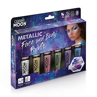 Cosmic Moon - Metallic Face Paint makeup for the Face & Body - 12ml - Create mesmerising metallic face paint designs! - Gift Set - Includes: Pink, Gold, Blue, Green, Silver, Purple