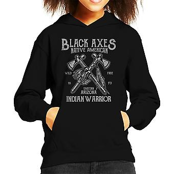 Fun Cool Vintage Native American Black Axes Kid's Hooded Sweatshirt