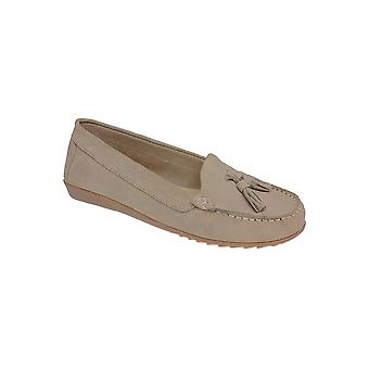 FLH598 Morris Ladies Leather Suede Classic Moccasin Tassel Loafers Shoes