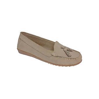 FLH598 Morris damer läder mocka klassiska Moccasin Tassel Loafers skor