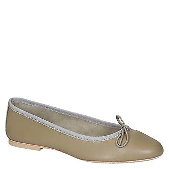Beige soft leather ballet flats ballerinas shoes