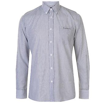 Pierre Cardin Mens Yarn Checked Longsleeve Shirt Long Sleeve Casual Cotton Chest